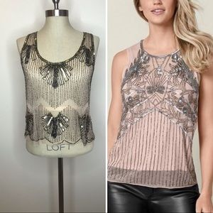 Nude beaded top size large